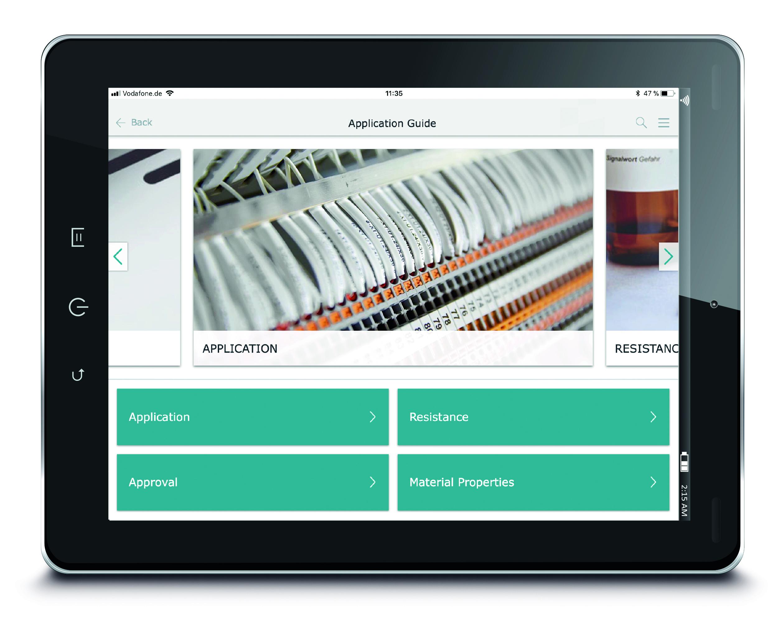 """Uygulama rehberinin dört filtre kriteri bulunmaktadır: """"Uygulama"""", """"Dayanıklılık"""", """"Onay"""" ve """"Malzeme özellikleri"""""""