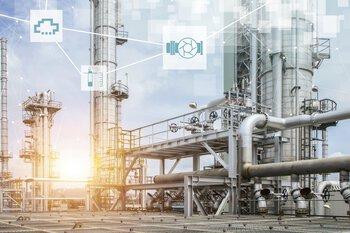 Procesindustrie met pictogrammen voor de visualisatie van de automatisering