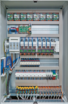 Control components in the central control cabinet, along with the protective and switching devices