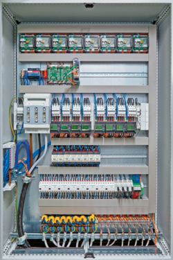 Protective and switching devices in the central control cabinet
