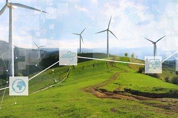 Windturbines in een groen landschap