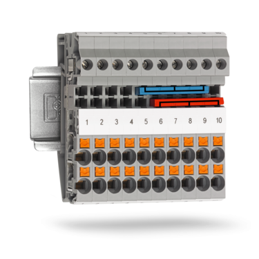 Hybrid terminal blocks with two connection technologies