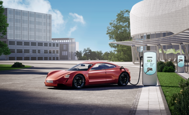 Sportbil med CHARX connect CCS-laddintag