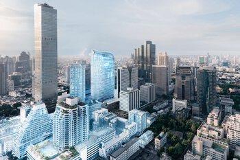 Netwerkgekoppelde stad met hoogbouw