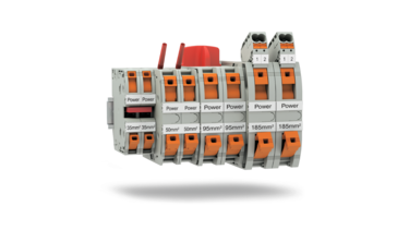 High-current terminal block with Power-Turn connection