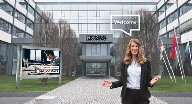 Phoenix Contact employees welcoming visitors to the Dialog Days in front of the company premises