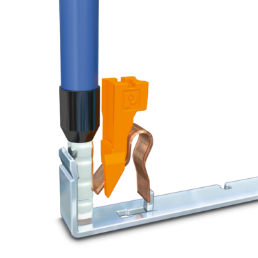 A conductor is clamped to a current bar using a Push-in connection