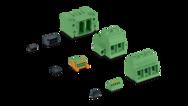 Configuradores para bornas, conectores y carcasas de base para placa de circuito impreso