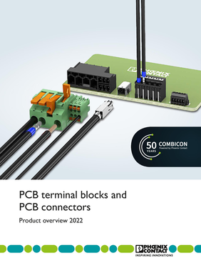 Cover page of the PCB terminal blocks and PCB connectors brochure