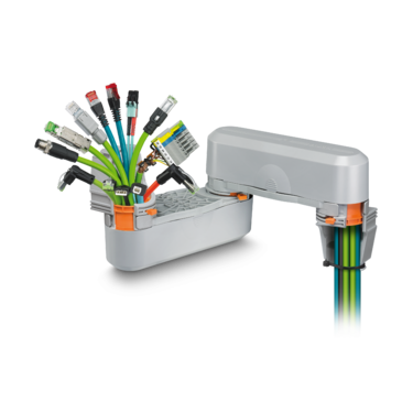 Easy cable routing of pre-assembled data cables to the built-in devices in the control cabinet door