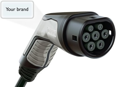 AC charging connector with customer logo