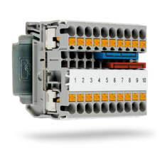 Push-in technology feed-through terminal block