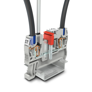 Spring-cage terminal block with conductors and bridges