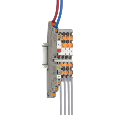 PTCB single-channel electronic circuit breaker bridged with CLIPLINE complete terminal blocks