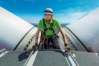 Worker on a wind turbine generator
