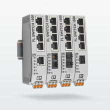 Cuatro switches no gestionados con puertos de cobre y distintas conexiones de fibra de vidrio