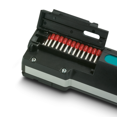 Crimp multiple conductors without interruption using the portable stripping and crimping device