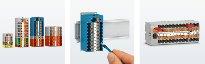 Ready-to-use Push-in distribution blocks