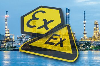 Ex protection icons in front of a process industry photo