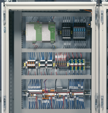 Control cabinet with thermal circuit breakers