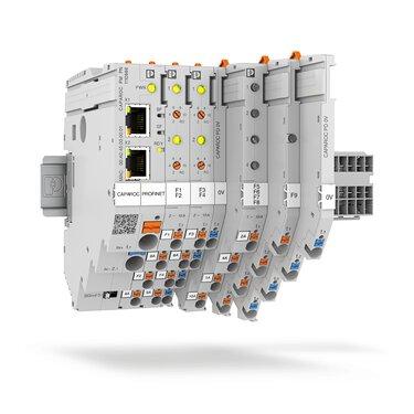 Systeem voor elektronische apparatenbeveiligingsschakelaars met PROFINET-module, zekeringen en potentiaalverdelers