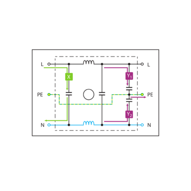 Example interference suppression filter circuit (filter circuit diagram)