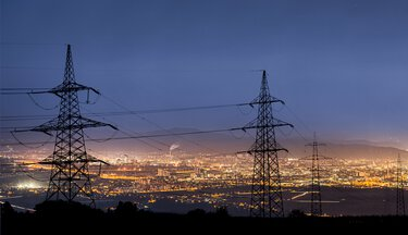 Substation in the dark on the city limits