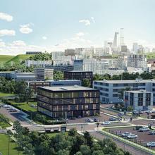 Energielandschap, transformatorstation, stad