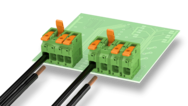 Lever-actuated PCB terminal blocks up to 25 mm² – safe transmission of currents up to 76 A
