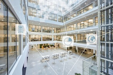 Building from the inside with icons for visualizing an intelligently networked building