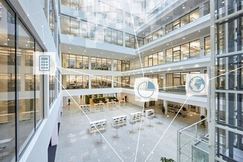 Building from the inside with icons for visualizing the building management