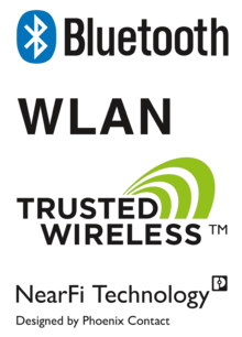 Logos des technologies sans fil, Trusted Wireless, Bluetooth et WLAN