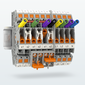 Test-disconnect terminal blocks for the secondary wiring side of switching devices for transducers and signals