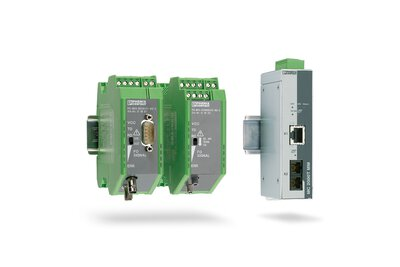Fiber optic media converters for Ethernet and fieldbus from Phoenix Contact