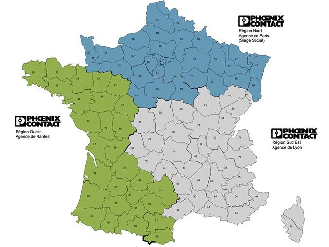 Carte du réseau commercial Français