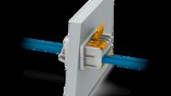 Zvenčí push-lock, uvnitř přípojka push-in