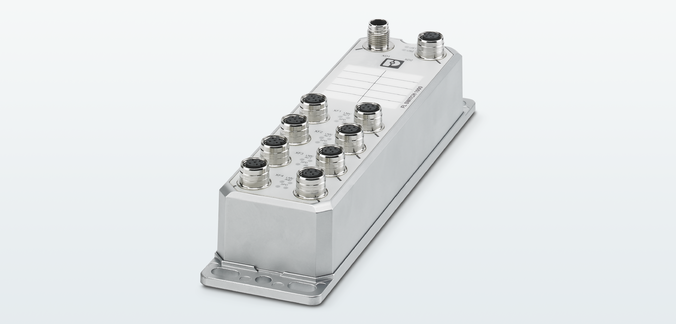 The FL SWITCH 1605 device mounted on profiles