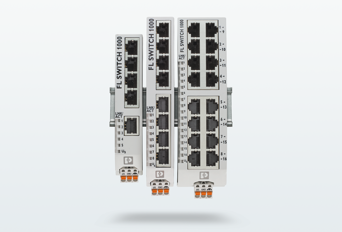 Tres switches no gestionados de la serie 1000 y 1100