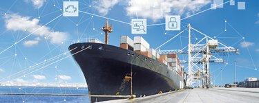 貨櫃運輸船和用於視覺化顯示船舶數位化的符號