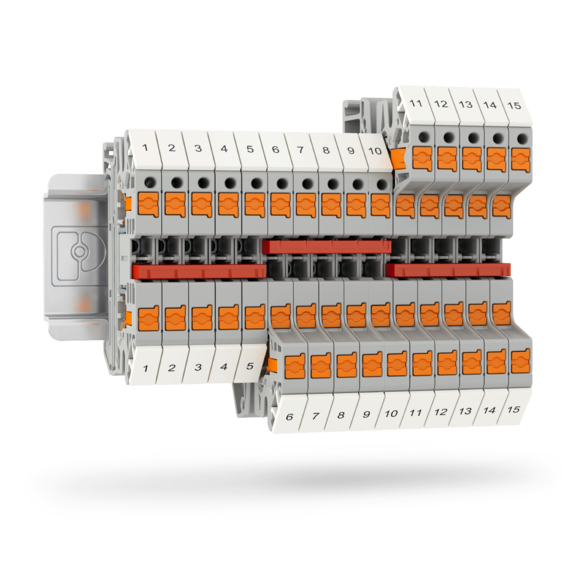 COMPLETEline terminal blocks on a din rail