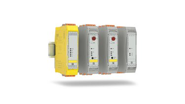 Different CONTACTRON hybrid motor starters on DIN rails
