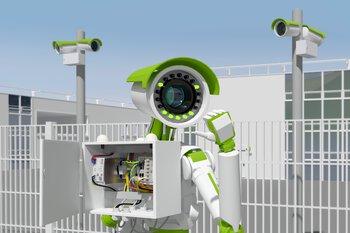 Robot met camera-aansluitkast Smart Camera Box voor videobewaking
