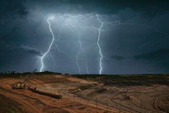 Lightning strike at a mine