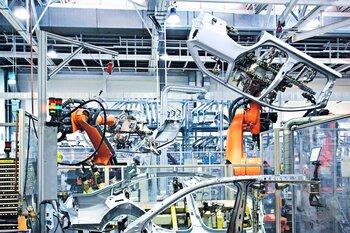 Productierobots in de automobielindustrie