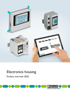 Photo of the electronics housings brochure title page