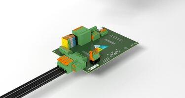 Circuit imprimé avec différents blocs de jonction et connecteurs pour C.I.