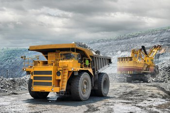 Truck at an open-cast mine in South America