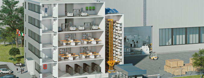 Edificios industriales y estantes altos