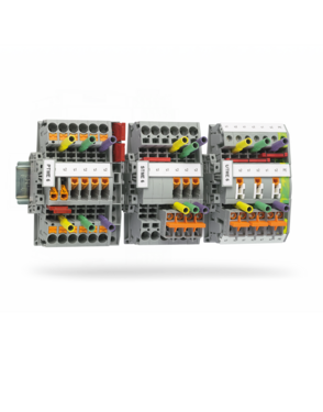 Test disconnect terminal blocks with various connections