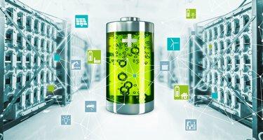 Batterie verte avec icones pour les solutions de stockage d'énergie